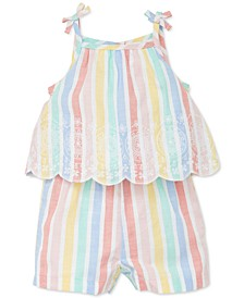Baby Girls Rainbow Striped Woven Cotton Romper