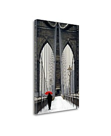 Brooklyn Bridge Meets Red by Michael Cahill Giclee on Gallery Wrap Canvas