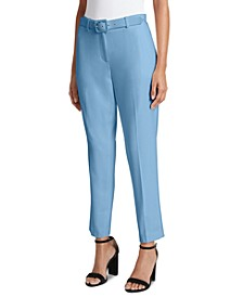 Petite Belted Ankle Dress Pants