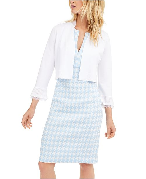 Calvin Klein Lace-Trim Cropped Cardigan & Sleeveless Houndstooth-Print Dress