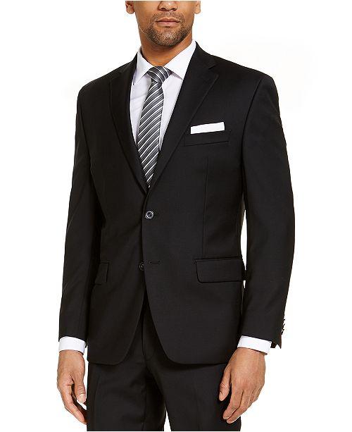 Michael Kors CLOSEOUT! Men's Classic-Fit Airsoft Stretch Black Solid Suit Jacket