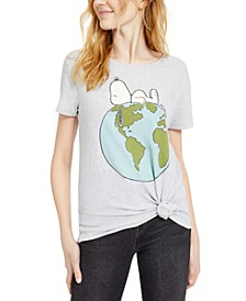 Juniors' Snoopy Planet Earth T-Shirt