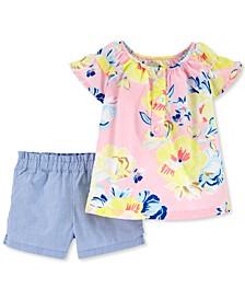 Baby Girls 2-Pc. Floral-Print Cotton Top & Shorts Set