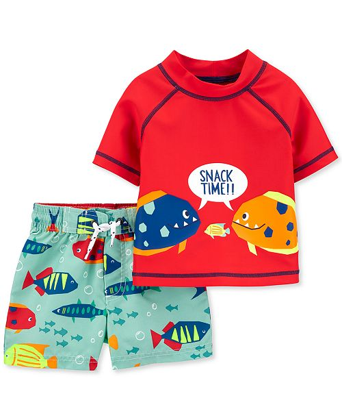Carter's Baby Boys 2-Pc. UPF 50+ Fish Rash Guard & Board Shorts Set