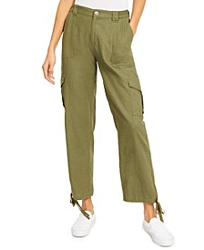 Juniors' Tie-Hem Soft Cargo Pants