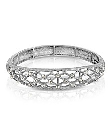 Silver-Tone Crystal Slim Filigree Stretch Bracelet
