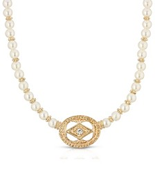 Gold-Tone Imitation Pearl and Crystal Pendant Necklace