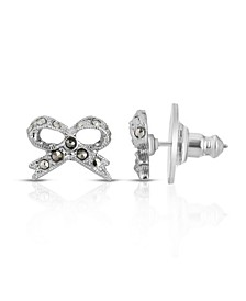Silver-Tone Marcasite Bow Stud Earrings