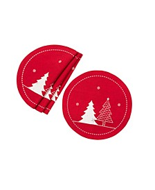 Lovely Christmas Tree Embroidered Double Layer Round Placemat - Set of 4