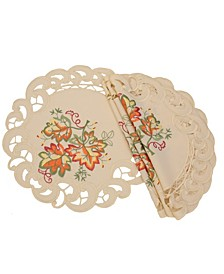 Thankful Leaf Embroidered Cutwork Fall Round Placemats - Set of 4