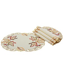 Moisson Leaf Embroidered Cutwork Fall Placemats - Set of 4