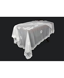 Delicate Daisies Lace Embroidered Tablecloth with Beaded Accents
