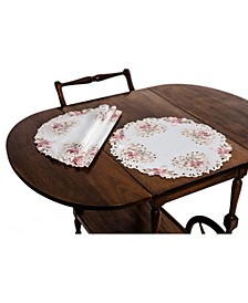 Embroidered Cutwork Round Placemats - Set of 4