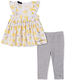 Baby Girls 2-Pc. Printed Ruffle Tunic & Leggings Set