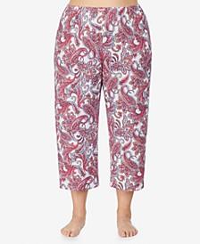 Plus Size Knit Pajama Capri Pant, Online Only