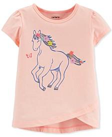 Toddler Girls Pink Glitter Horse Tulip T-Shirt