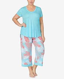 Plus Size Knit Capri Pajama Set, Online Only