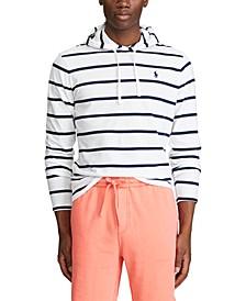 Men's Striped Cotton Hooded T-Shirt