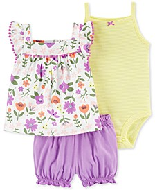 Baby Girls 3-Pc. Cotton Bodysuit, Floral-Print Tunic & Shorts Set