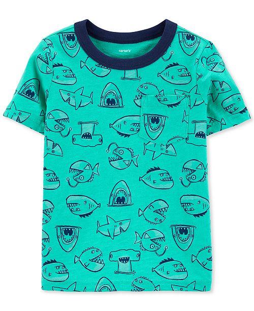 Carter's Toddler Boys Turquoise Fish Pocket T-Shirt