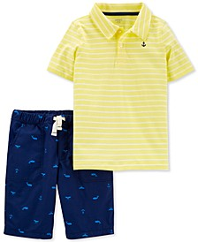 Little & Big Boys Yellow Stripe Polo Shirt & Whale-Print Shorts Set