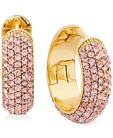 "Gold-Tone Small Pavé Wide Hoop Earrings, 0.7"""