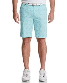 Men's Stretch Geometric Palm-Print Seersucker Golf Shorts