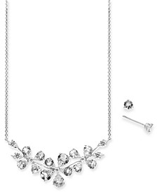Crystal Flower Statement Necklace & Stud Earrings Set, Created for Macy's