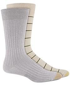 Men's 2-Pk. Textured Stripes Crew Socks