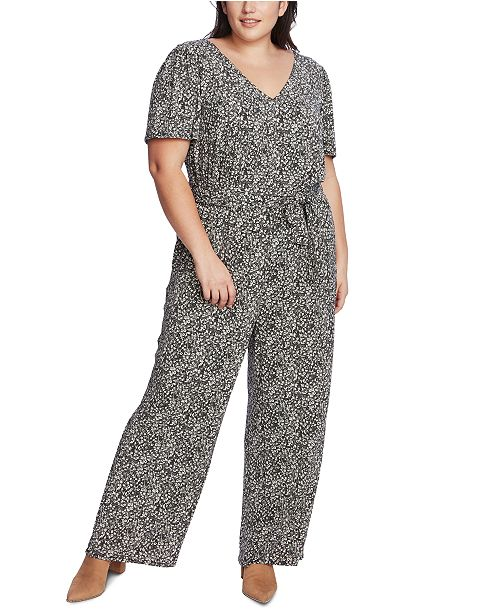 1.STATE Plus Size Printed Belted Jumpsuit