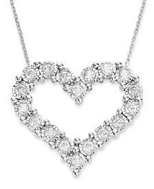Diamond Heart Pendant in 10k White Gold (1/2 ct. t.w.)