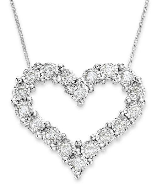 84ecd367a TruMiracle Diamond Heart Pendant in 10k White Gold (1/2 ct. t.w. ...