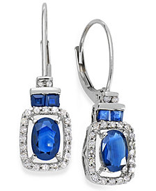 14k White Gold Earrings, Sapphire (1-1/5 ct. t.w.) and Diamond (1/5 ct. t.w.) Drop Earrings