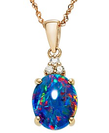 14k Rose Gold Necklace, Opal Triplet and Diamond Accent Pendant