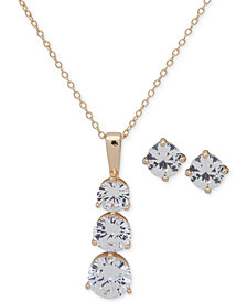 "Anne Klein Gold-Tone Crystal Stud Earrings & Pendant Necklace, 16"" + 3"" extender, Created for Macy's"