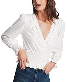 Smocked Lace-Trim Top