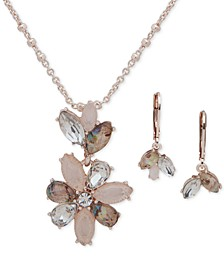 "Navette Stone Drop Earrings & Pendant Necklace Set, 16"" + 3"" extender"