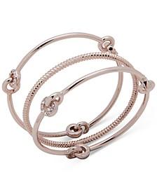 Rose Gold-Tone 3-Pc. Set Interlocking Bangle Bracelets
