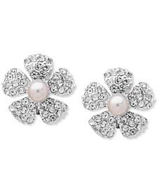 Silver-Tone Pavé & Imitation Pearl Flower Clip-On Button Earrings
