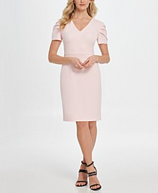 Puff Pleat Sleeve V-Neck Sheath Dress