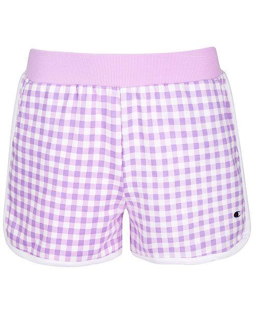 Champion Big Girls Gingham French Terry Shorts
