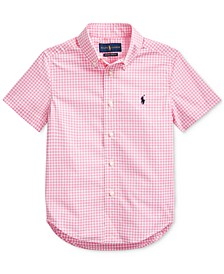 Toddler Boys Gingham Cotton Poplin Shirt