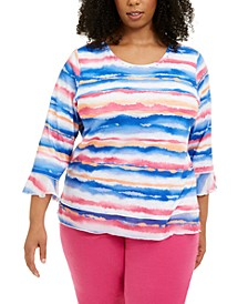 Plus Size Printed 3/4-Sleeve Top