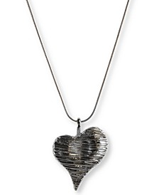 "Silver-Tone Textured Heart 39"" Pendant Necklace, Created for Macy's"