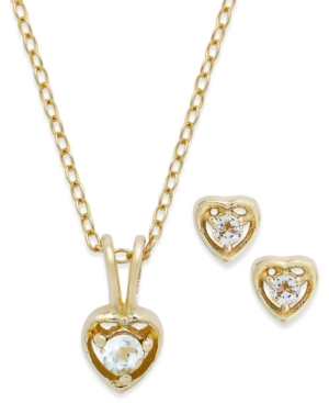 Children's 18k Gold over Sterling Silver Necklace and Earrings Set, March Birthstone Aqua Topaz Heart Pendant and Stud Earrings Set (1/5 ct. t.w.)