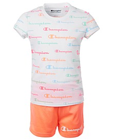 Little Girls 2-Pc. Allover Logo Script T-Shirt & Mesh Shorts Set