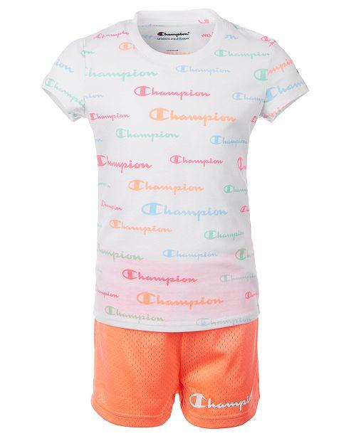 Champion Little Girls 2-Pc. Allover Logo Script T-Shirt & Mesh Shorts Set