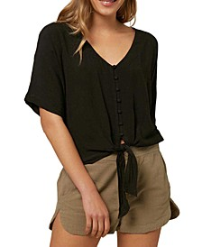 Juniors' Railee Tie-Front Top