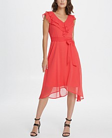 Ruffle V-Neck Chiffon Dress