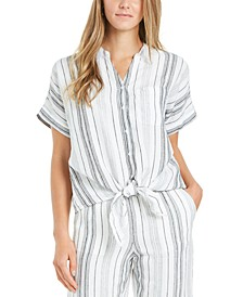 Petite Linen Striped Tie Top, Created for Macy's